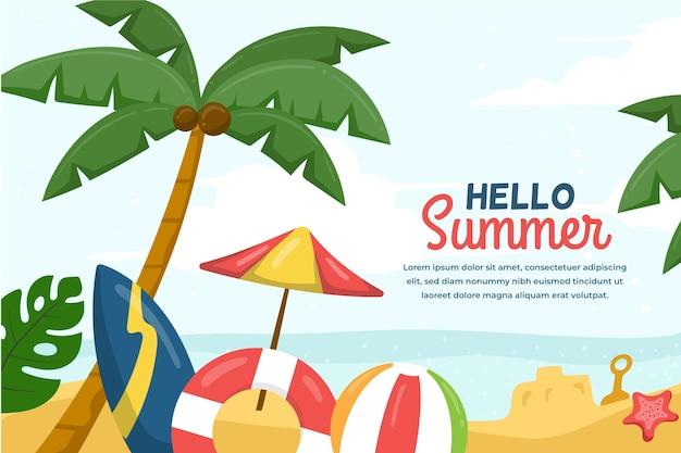 Fondo de verano con palmeras y playa