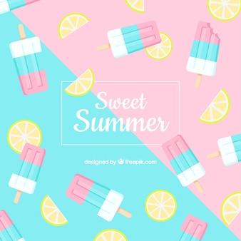 Fondo de verano con patrón de helado
