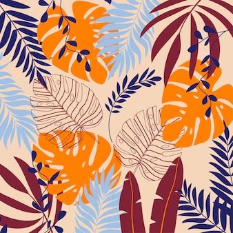 Fondo de verano con plantas y hojas tropicales