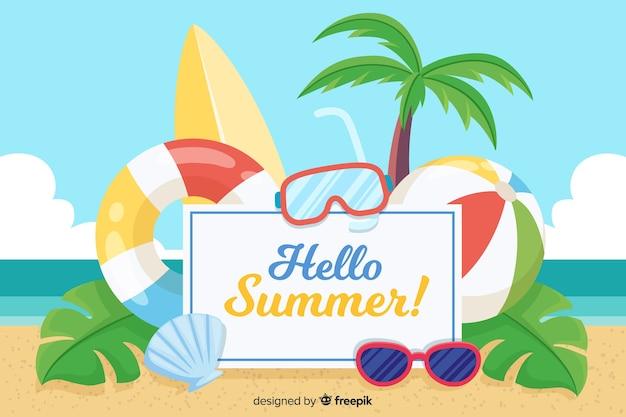 Fondo verano playa dibujada a mano