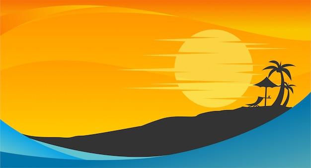 Fondo de verano con playa, palmeras y sol.