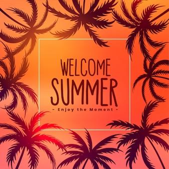 Fondo de verano puesta de sol tropical con palmeras
