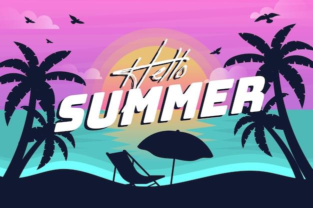 Fondo de verano con siluetas de playa y palmeras