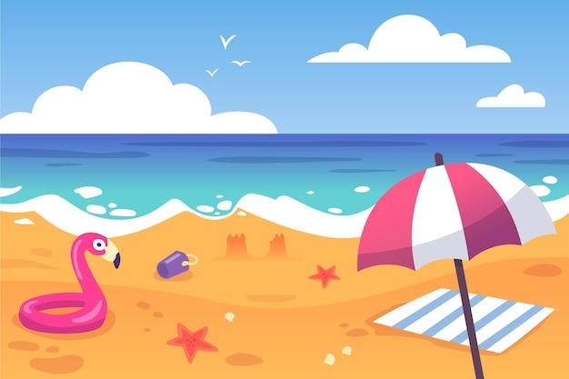 Fondo de verano sombrilla y flotador de playa