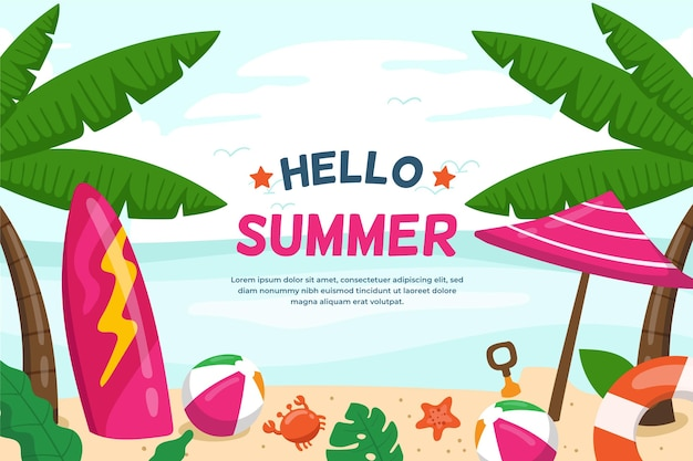Fondo de verano con tabla de surf y sombrilla