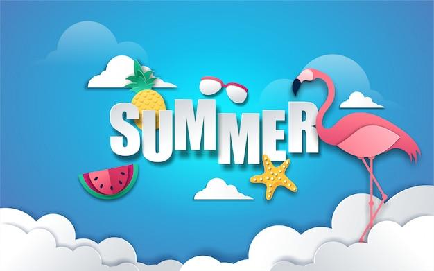 Fondo de verano con texto y decoración en papel