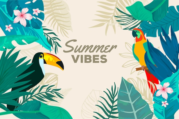 Fondo de verano con tucán y pájaro
