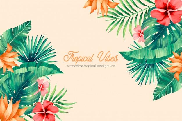 Fondo de verano con vibraciones tropicales