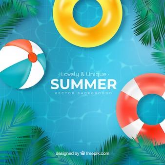 Fondo de verano con vista de piscina