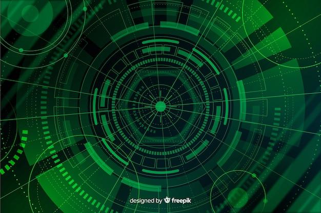 Fondo verde abstracto de tecnología hud