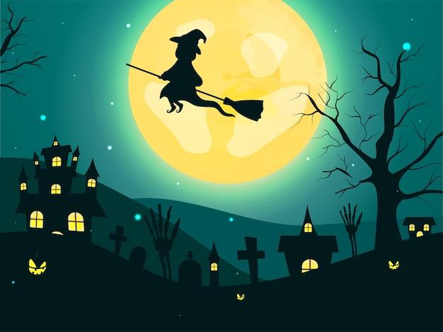 Fondo verde azulado de luna llena con bruja volando en escoba, manos esqueléticas, cementerio, árboles desnudos, linternas y casas embrujadas.