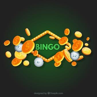 Fondo verde de bingo con monedas doradas