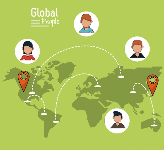Fondo verde claro con el mapa del mundo y el puntero del mapa