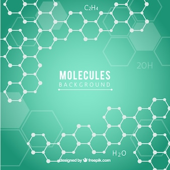 Fondo verde con hexágonos y moléculas