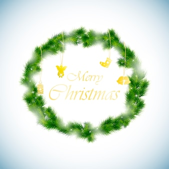Fondo verde corona de navidad