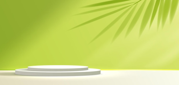Fondo verde cosmético y pantalla de podio premium para la presentación de la marca y el empaque del producto