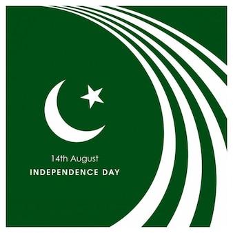 Fondo verde de curvas blancas del día de la independencia de pakistán