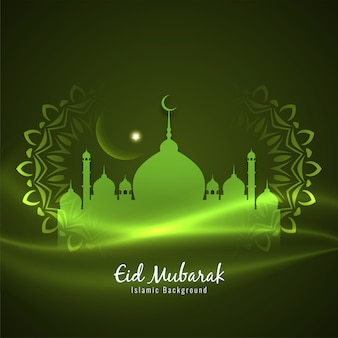 Fondo verde decorativo islámico eid mubarak