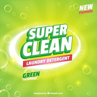 Fondo verde de detergente con nueva fórmula
