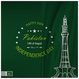 Fondo verde del día de independencia de pakistán