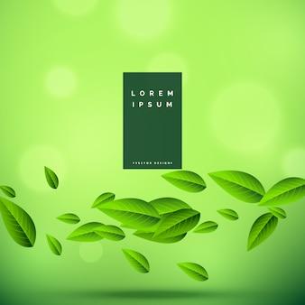 Fondo verde ecológico con hojas flotantes