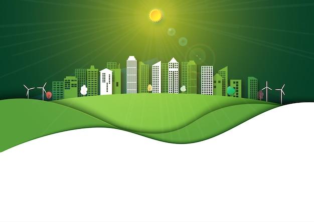 Fondo verde de la energía y el paisaje urbano ecológico