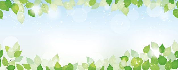 Fondo verde fresco acuarela transparente con espacio de texto, ilustración vectorial. imagen ambientalmente consciente con plantas, cielo azul y luz solar. horizontalmente repetible.