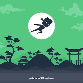 Fondo verde de guerrero ninja