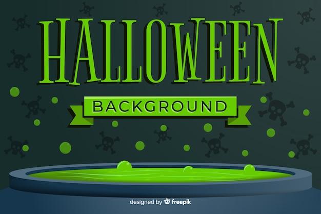 Fondo verde de halloween con diseño plano