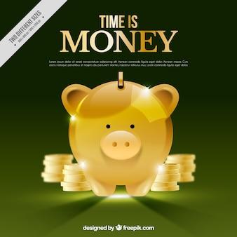 Fondo verde con hucha dorada y monedas