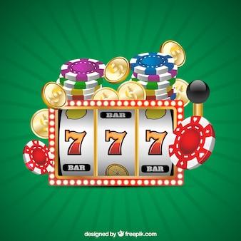 Fondo verde  con juegos de casino