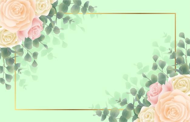 Fondo verde con marcos de flores y hojas