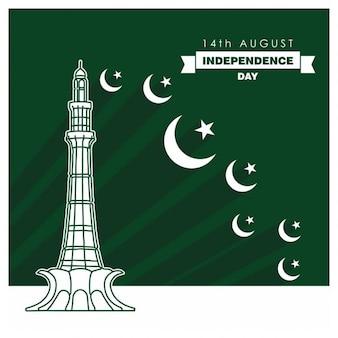 Fondo verde con monumento y lunas del día de pakistán