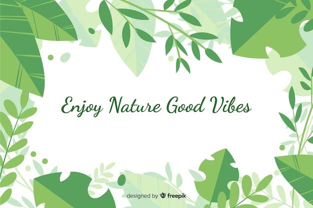 Fondo verde de naturaleza con cita