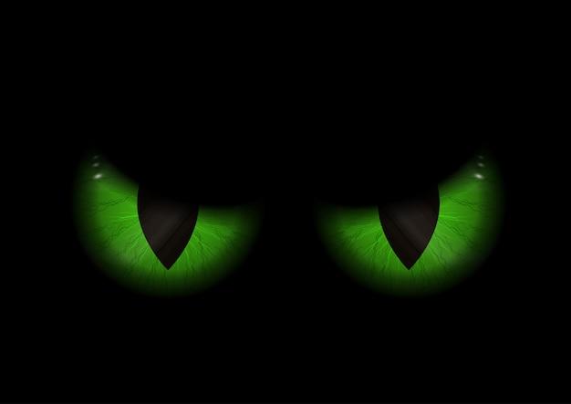 Fondo verde ojos malvados