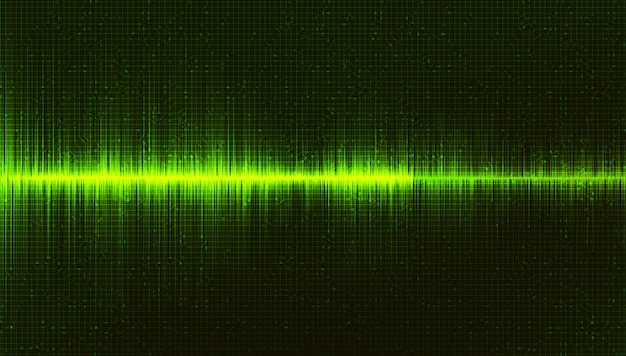 Fondo verde de la onda de sonido digital