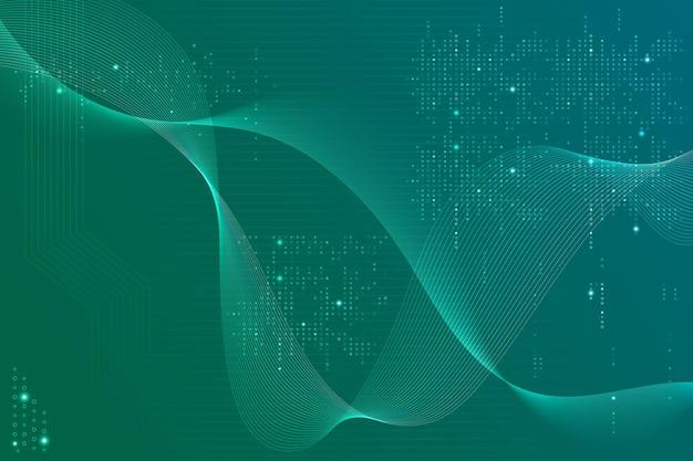 Fondo verde de ondas futuristas con tecnología de código informático
