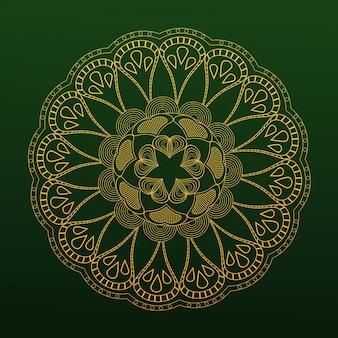 Fondo verde oriental mandala amarillo