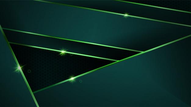 Fondo verde oscuro de lujo con formas abstractas metálicas verdes doradas
