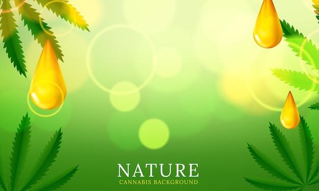 Fondo verde de la planta de cannabis. ilustración vectorial