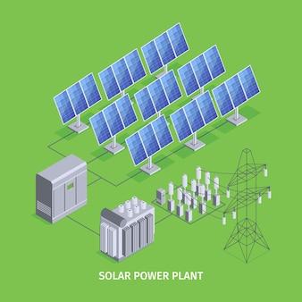 Fondo verde de la planta de energía solar con paneles solares y energía eléctrica renovable