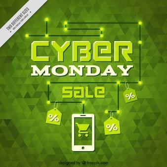 Fondo verde poligonal para el lunes cibernético