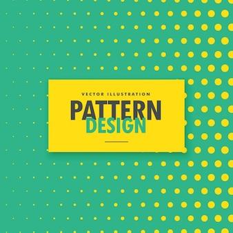 Fondo verde con puntos de semitono amarillos