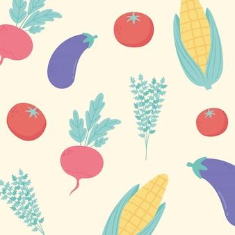 Fondo de verduras cocina, menú de restaurante comida vegetariana fresca berenjena tomate y maíz