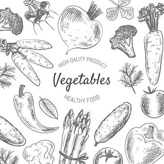 Fondo de verduras dibujadas a mano