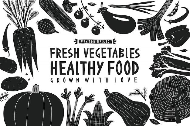 Fondo de verduras. estilo linograbado. comida sana. ilustración vectorial