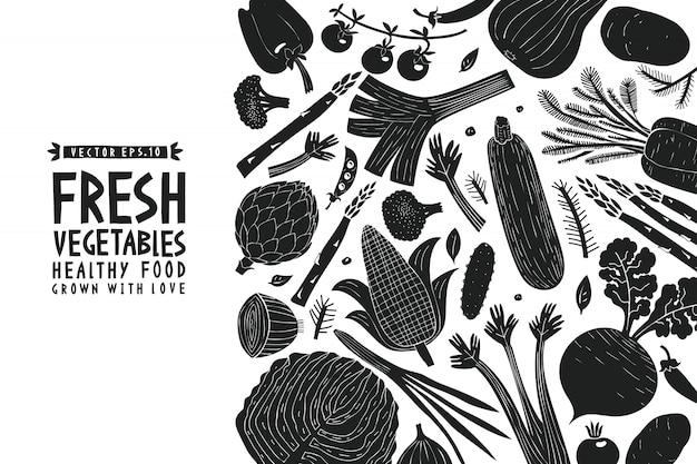 Fondo de verduras. estilo linograbado. comida sana.