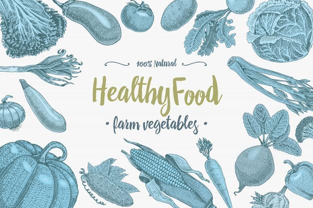 Fondo de verduras frescas con espacio para texto, dibujado a mano o grabado, vintage, plantas de aspecto retro, comida vegetariana y saludable
