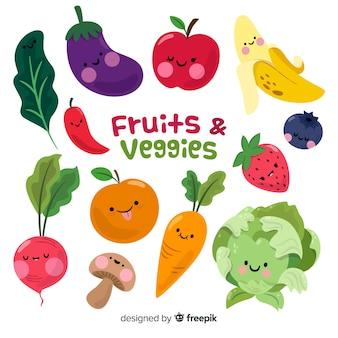 Fondo verduras y frutas dibujadas a mano