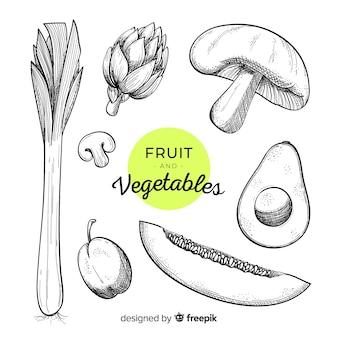 Fondo de verduras y frutas dibujadas a mano
